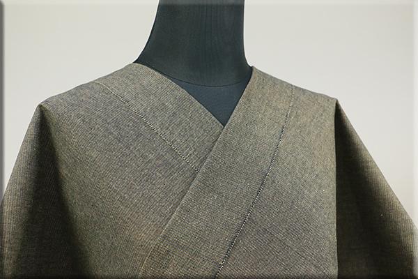 三河木綿 オーダーお仕立付き 洗える普段着着物  中厚地 かすみ カーキ No.48-31 ◆男女兼用◆