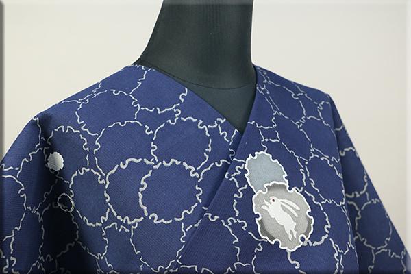 片貝木綿 紺仁工房 藍染 木綿着物 オーダーお仕立て付き 普段着きもの 雪輪 ウサギ 藍 ◆女性にオススメ◆