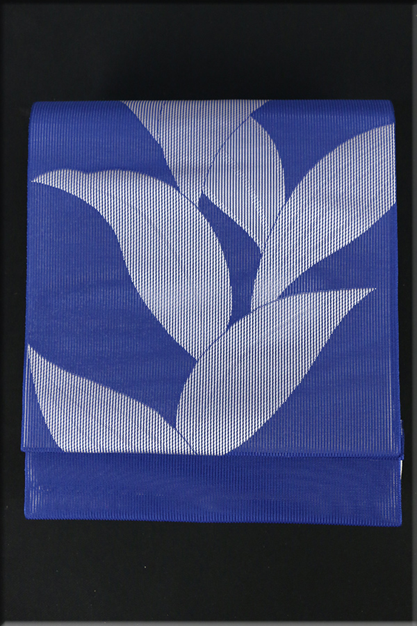 紫紘 西陣 夏物 正絹 八寸名古屋帯 お仕立て付き 葉 青