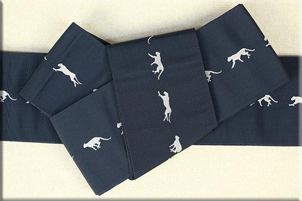 博多織 西村織物 角帯 正絹 チーター 紺