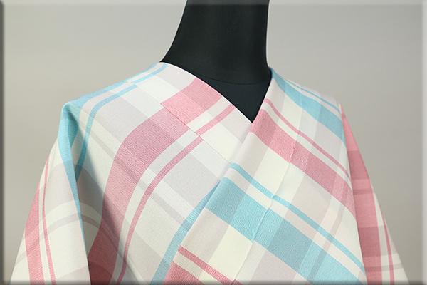 シルクウール オーダーお仕立て付き 三勝染 格子 水色×ピンク 4244-443