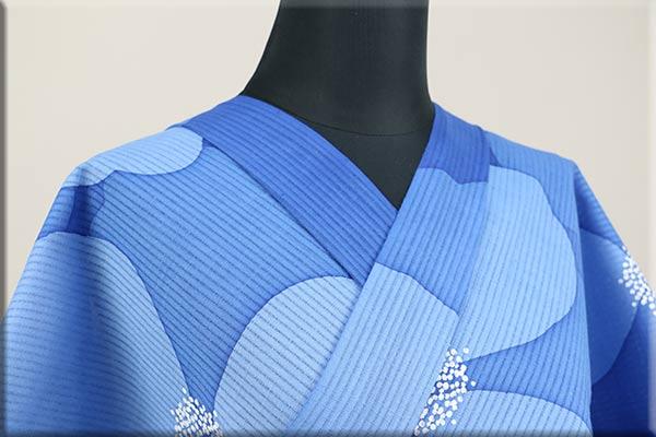 カジエスタ浴衣(ゆかた) オーダー仕立て付き ロウケツ染 花 青 ◆女性にオススメ◆