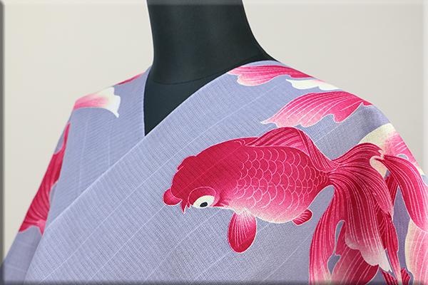 誉田屋源兵衛 浴衣(ゆかた) オーダー仕立て付き 金魚 グレーxピンク ◆男女兼用◆
