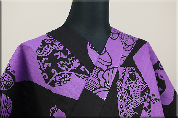 Rumi Rock(ルミロック)浴衣(ゆかた) 綿麻 オーダー仕立て付き トランプ 黒 ◆男女兼用◆