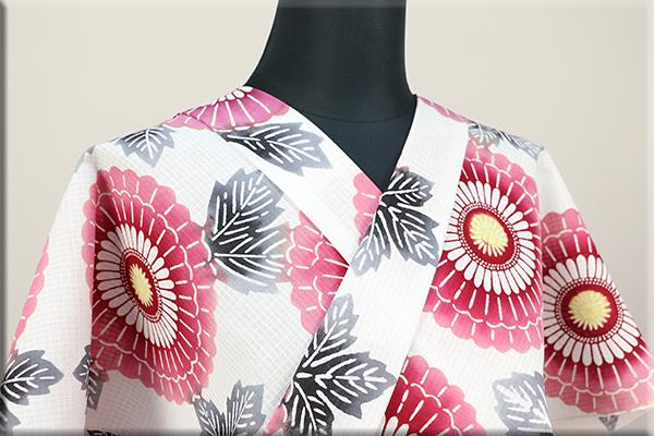 三勝 注染浴衣(ゆかた) 浴衣(ゆかた) オーダー仕立て付き 花 白 ◆女性にオススメ◆