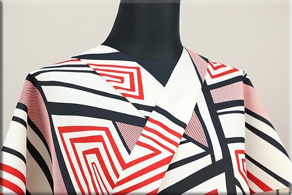 和風館 浴衣(ゆかた) オーダー仕立て付き 幾何学模様 赤 ◆男女兼用◆