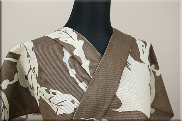 JUNKO KOSHINO浴衣(ゆかた) 綿麻 オーダー仕立て付き カブに虫 薄茶 隼77 ◆男女兼用◆