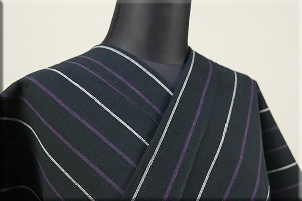 片貝木綿 紺仁工房 木綿着物 オーダーお仕立て付き 普段着きもの ストライプ 黒x紫x白 ◆男女兼用◆