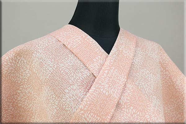 綿麻着物 紅梅織 紺仁 越後型 型染 オーダー仕立て付き ピンク ◆女性にオススメ◆