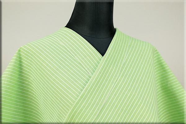 夏のKIPPE(きっぺ) 涼しま よねざわもめん 綿麻 オーダーお仕立て付き 薄緑 14-1 ◆男女兼用◆