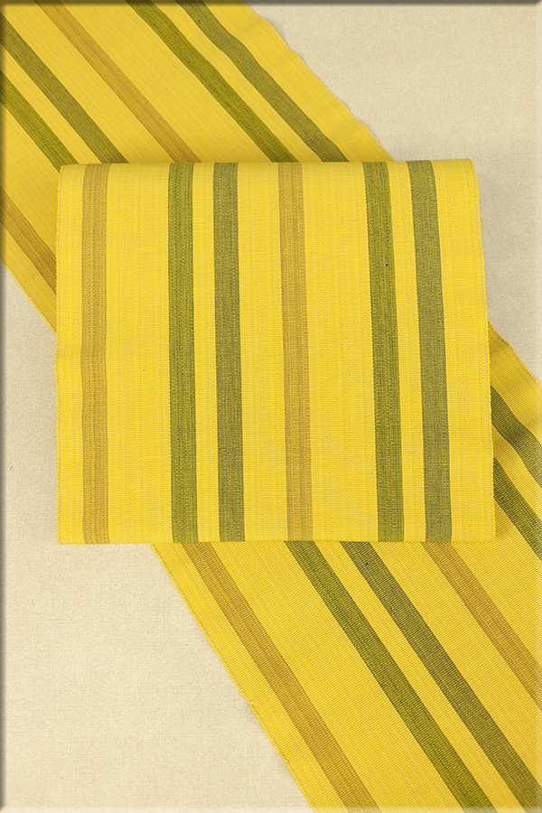東郷織物 木綿 手織り 八寸名古屋帯 お仕立て付き 黄x緑x茶