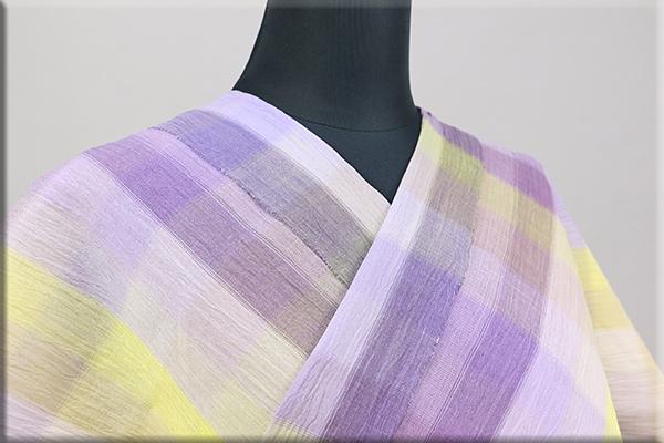 夏着物 小千谷ちぢみ 楊柳 オーダー仕立て付き 杉山織物 チェック 紫x黄色 ◆女性にオススメ◆