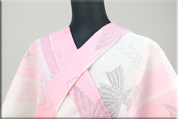 夏着物 小千谷ちぢみ 楊柳 オーダー仕立て付き 金魚 ピンク ◆女性にオススメ◆