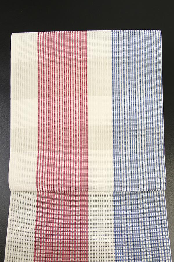5-9きもの 博多織 夏の時間 白×赤×青 ストライプ 八寸名古屋帯 西村織物 仕立付き