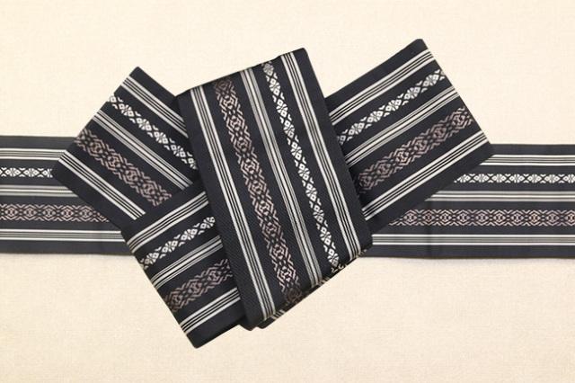 博多織 西村織物 角帯 正絹 上献上 献上柄 黒
