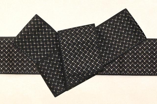 博多織 西村織物 角帯 正絹 切子 黒