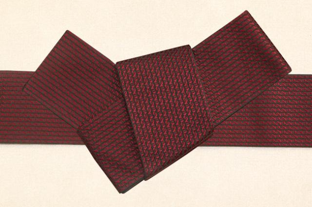 博多織 西村織物 角帯 正絹 道轍 綟鎖 赤×黒