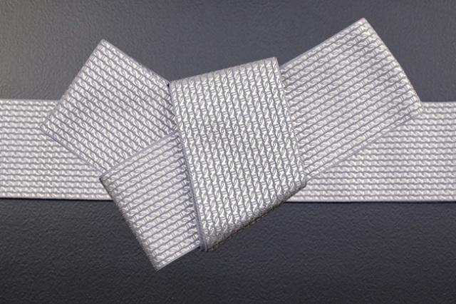 博多織 西村織物 角帯 正絹  道轍 綟鎖 灰×白