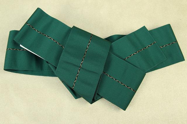 博多織 西村織物 角帯 正絹 八ノ字縞 緑