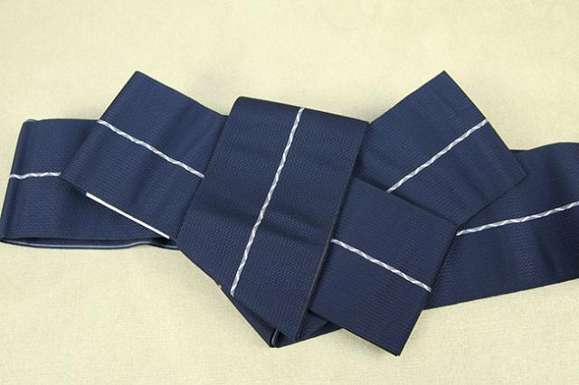博多織 西村織物 角帯 正絹 八ノ字縞 青