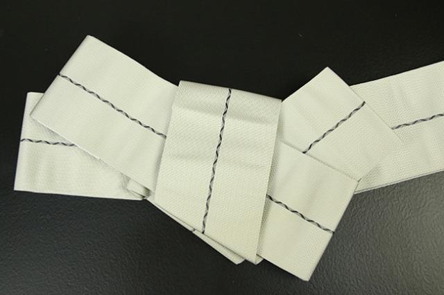 博多織 西村織物 角帯 正絹 八ノ字縞 アイボリー