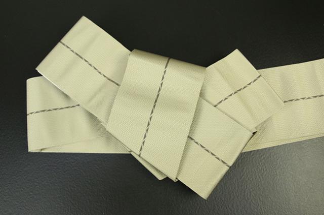 博多織 西村織物 角帯 正絹 八ノ字縞 ベージュ