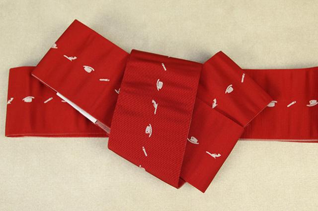 博多織 西村織物 角帯 正絹 片風通 ウエスタン 赤