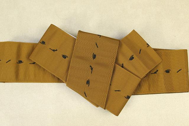 博多織 西村織物 角帯 正絹 片風通 ウエスタン 黄土色