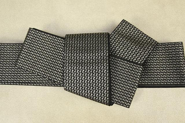 博多織 西村織物 角帯 正絹  道轍 綟鎖 灰×黒