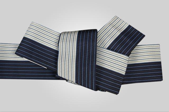 西村織物 麻絹 博多織 角帯 かがり仕立付 帯 紺×白 リバーシブル
