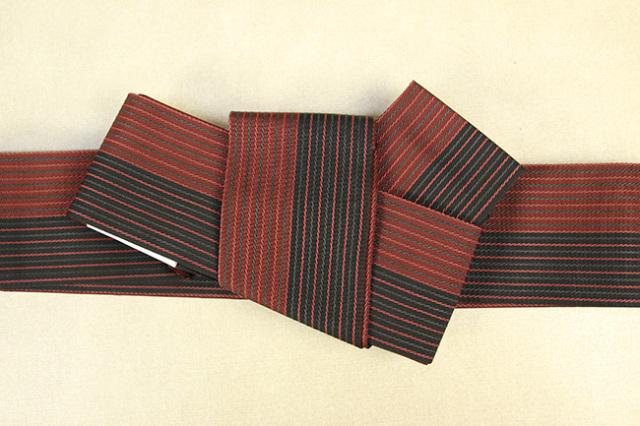 西村織物 麻絹 博多織 角帯 かがり仕立付 帯 赤×黒 リバーシブル