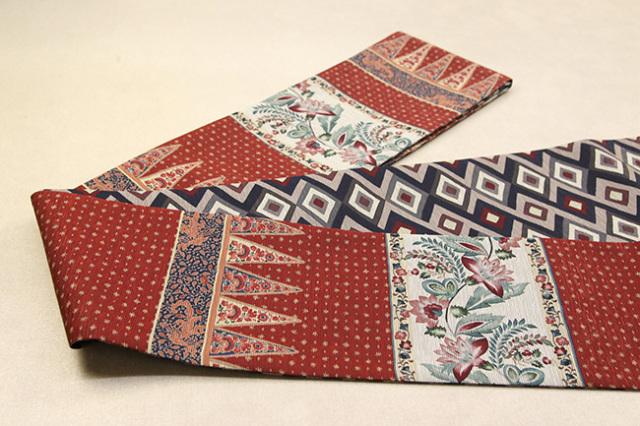 京都小泉 召しませ花 半幅帯 更紗柄 リバーシブル 赤