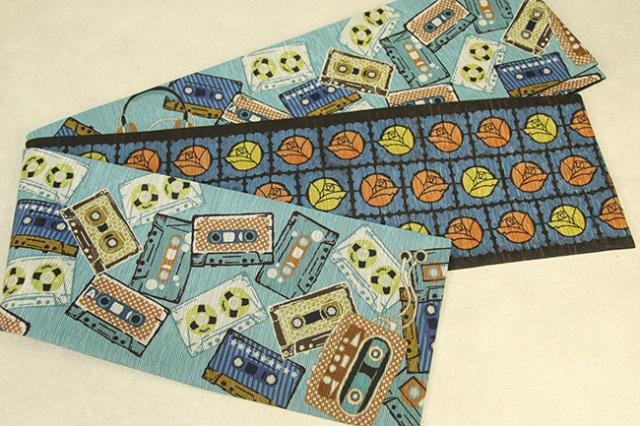 京都小泉 召しませ花 半幅帯 カセットテープ リバーシブル 水色