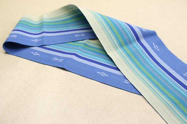 ミンサー 木綿 半幅帯 八重山 沖縄 青×水色×薄緑