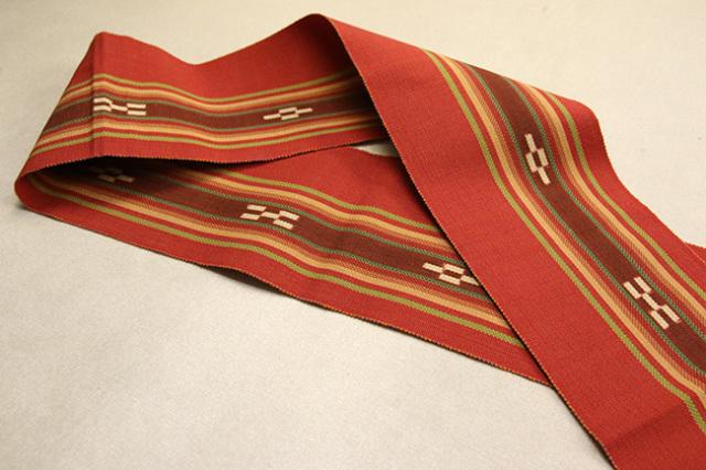 ミンサー 木綿 半幅帯 八重山 沖縄 赤色