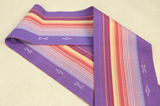ミンサー 木綿 半幅帯 八重山 沖縄 紫色 カラフルストライプ
