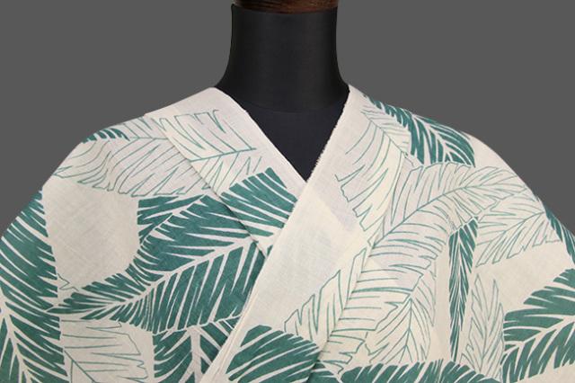 夏着物 近江の麻 楊柳 オーダー仕立て付き 葉柄 白×緑 ◆男女兼用◆