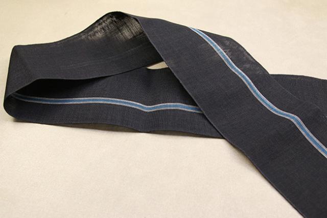 西陣 七野織物 宮岸貞雄謹製 半幅帯 本麻 黒