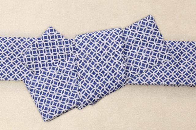 米沢織 角帯 季織苑工房 米織小紋 綿 七宝 青