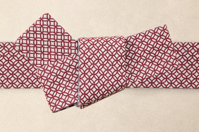 米沢織 角帯 季織苑工房 米織小紋 綿 七宝 赤