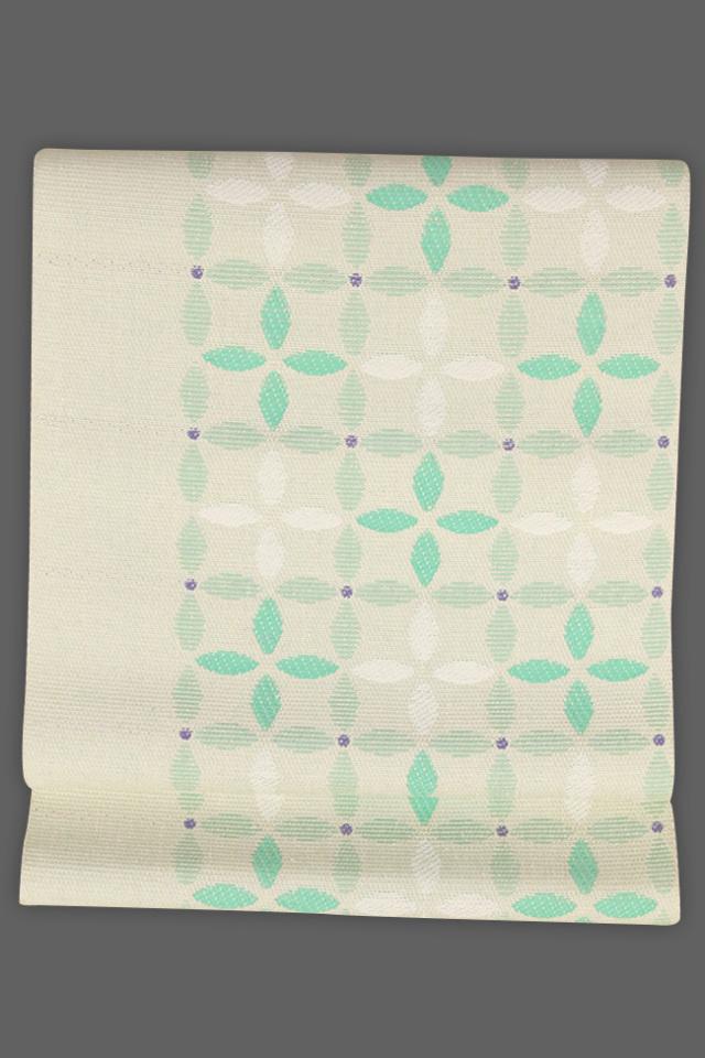 近賢織物 正絹 紙糸 八寸名古屋帯 七宝柄 緑 仕立付き