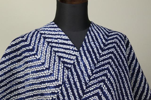 縫締め絞浴衣(ゆかた) 綿麻きもの オーダー仕立付き 藤井絞 白青 ◆男女兼用◆