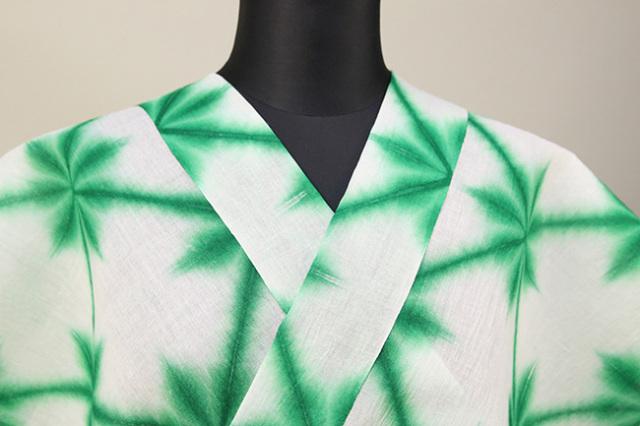 雪花絞浴衣(ゆかた)  オーダー仕立て付き 藤井絞 白緑 ◆女性にオススメ◆