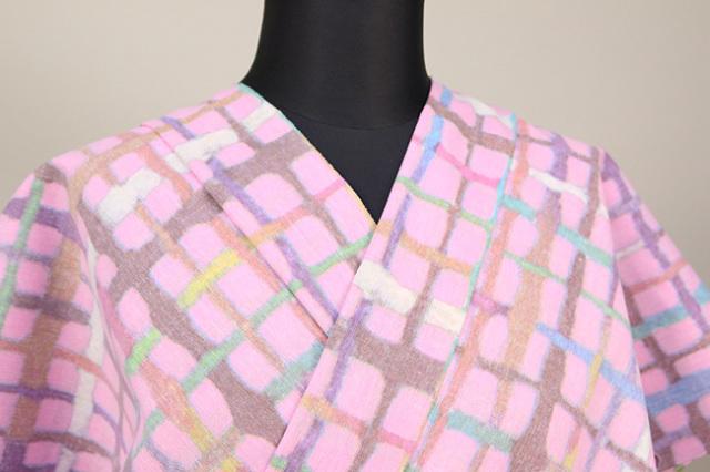 綿ちりめん 浴衣(ゆかた) オーダー仕立て付き ひでや工房 格子 ピンク ◆女性にオススメ◆