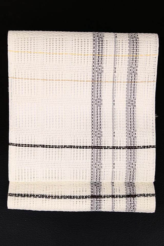 近賢織物 ZAway 八寸名古屋帯 絹 和紙 白×黒 仕立付き