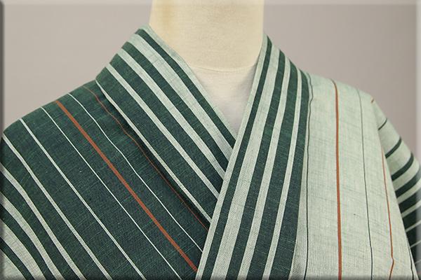 遠州木綿 木綿着物 オーダーお仕立て付き ツートン滝縞 緑  ◆男女兼用◆