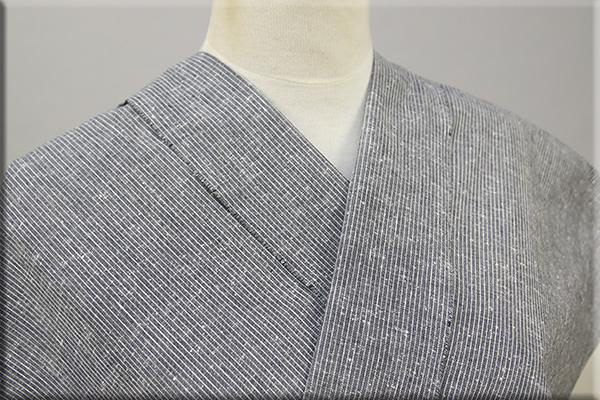 遠州木綿 木綿着物 オーダーお仕立て付き 白ネップピンストライプ グレー ◆男女兼用◆