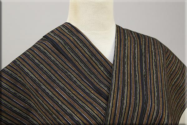 遠州木綿 木綿着物 オーダーお仕立て付き 絣 茶 呂ro ◆男女兼用◆