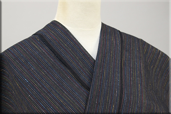 遠州木綿 木綿着物 オーダーお仕立て付き カラフルネップ 黒 ◆男女兼用◆