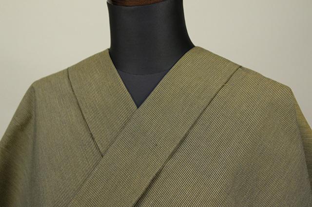遠州木綿 木綿着物 オーダーお仕立て付き 六〇双糸 ピンストライプ 黄 ◆男女兼用◆